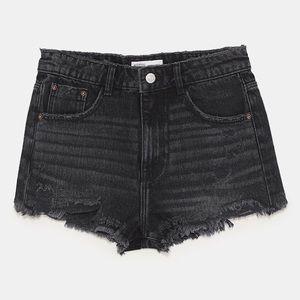 Zara Shorts - Zara TRF Black High Rise Denim Shorts, 26 (NWOT)
